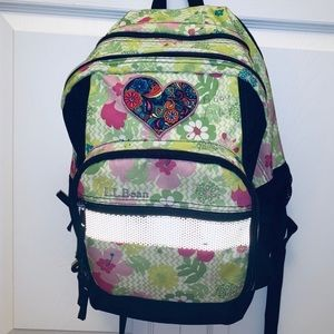 L.L. Bean Deluxe backpack book pack Flowers Floral